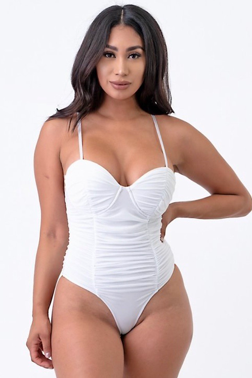 Ruched thong bodysuit