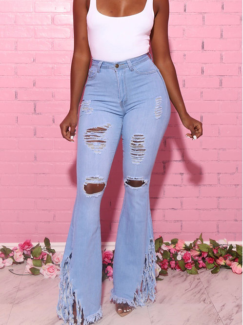 Tori Ripped wide leg jeans