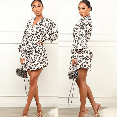 Cutely Covered  Shirt Dress Leopard