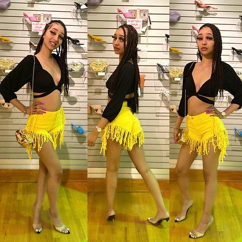 Hottie Fringe shorts in yellow