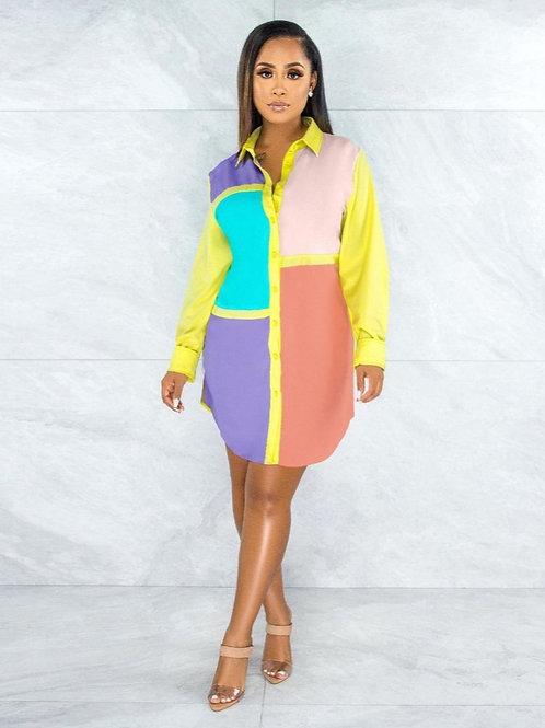 Sunday Color Block shirt dress