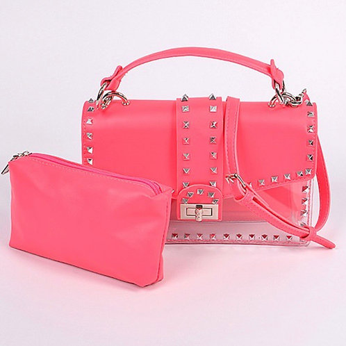 Roxanne Studded Clutch Neon Pink