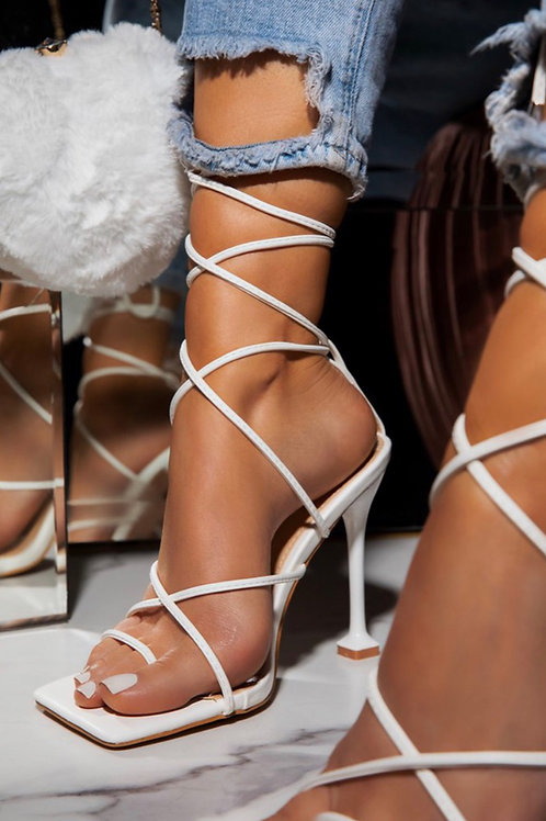 Draya Strappy heels  in white