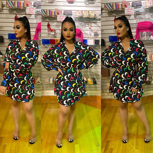 Cutely Covered Shirt Dress Moon