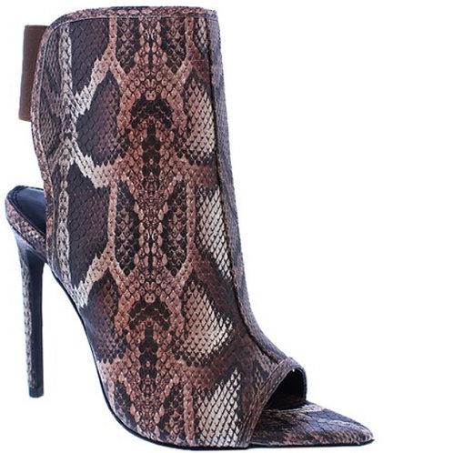 Shanti snakeskin booties brown