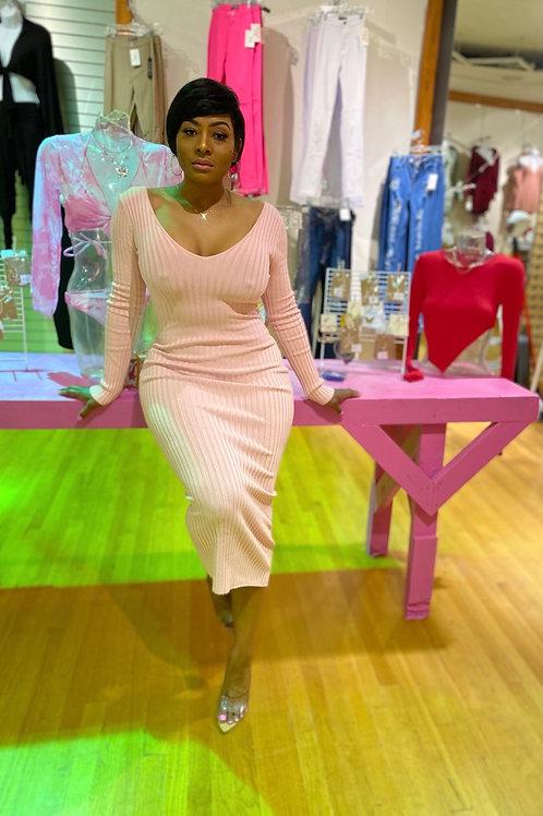 Sugar Ribbed Dress in pink