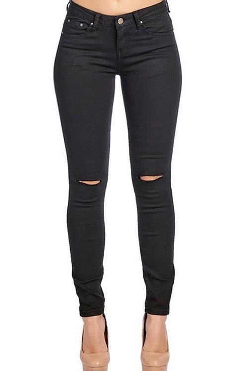 Slit knee jeans