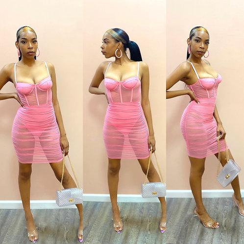 Romance ruched dress pink