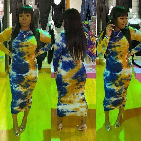 Fun Play Tie Dye midi dress