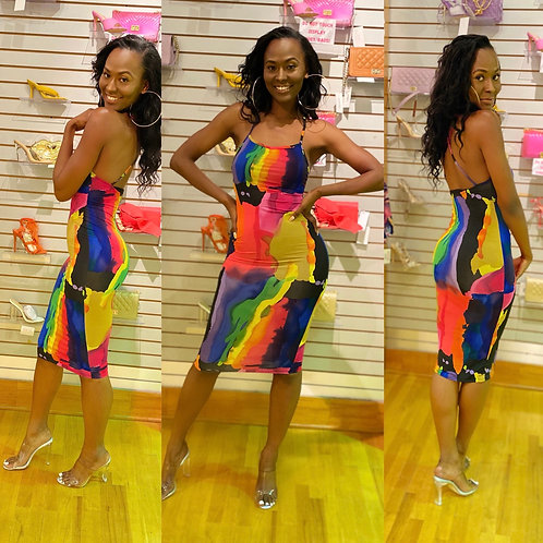 Taste of Rainbow midi dress