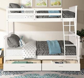 Litera con dos camas, con escaleras y dos cajones de almacenamiento (blanco)