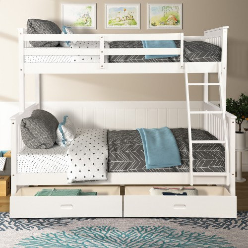 Twin-Over-Full Bunk Bed with Ladders and Two Storage Drawers (White)