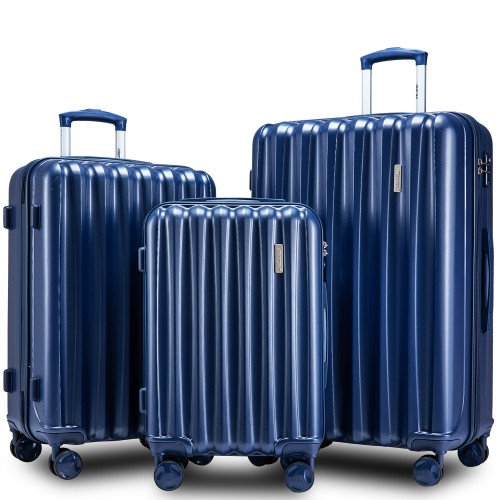 3 Juego de Equipaje rodante de viaje Cáscara dura Azul