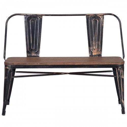 Rustic Vintage Style Distressed Dining Table Bench with Wooden Seat Panel and Me
