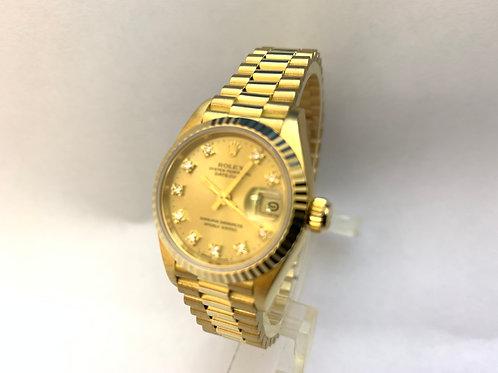 Rolex Date Just 18ct Gold Ladies [69178]