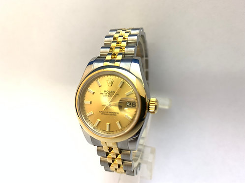 Rolex Date just Steel and Gold Ladies [179163]