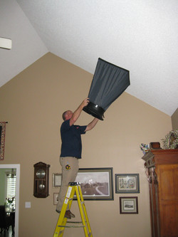 Testing for airflow  in a vaulted ceiling