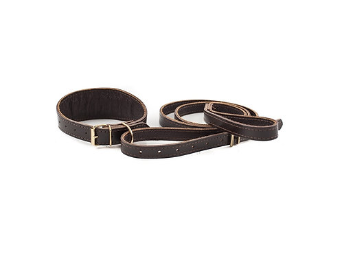 Black Value Leather Collar and Lead Set