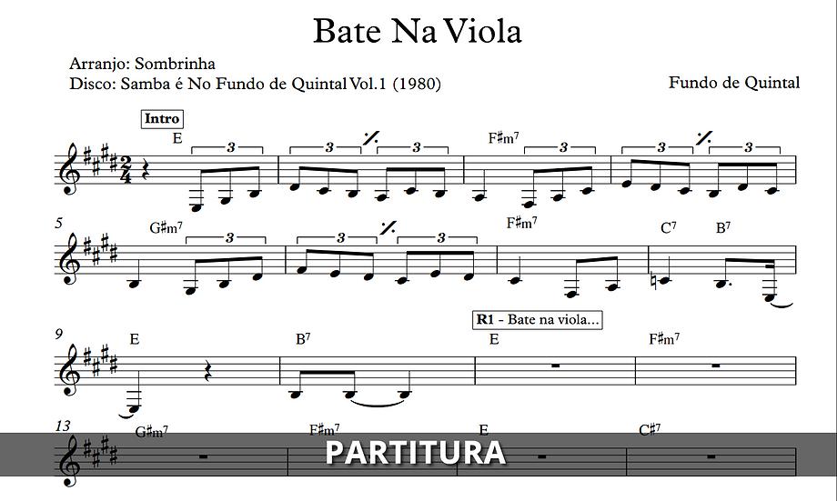 Bate na Viola - Fundo de Quintal (Transcrição)
