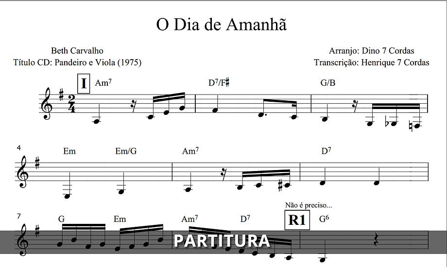 O Dia de Amanhã - Beth Carvalho (Transcrição)