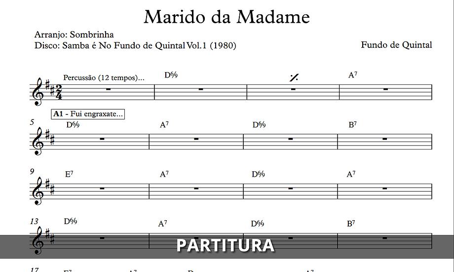 Marido da Madame - Fundo de Quintal (Transcrição)