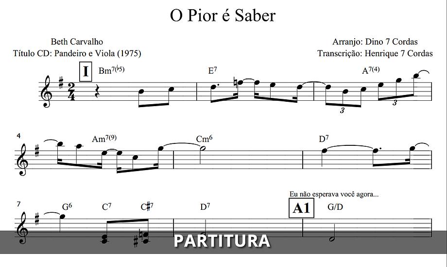 O Pior é Saber - Beth Carvalho (Transcrição)