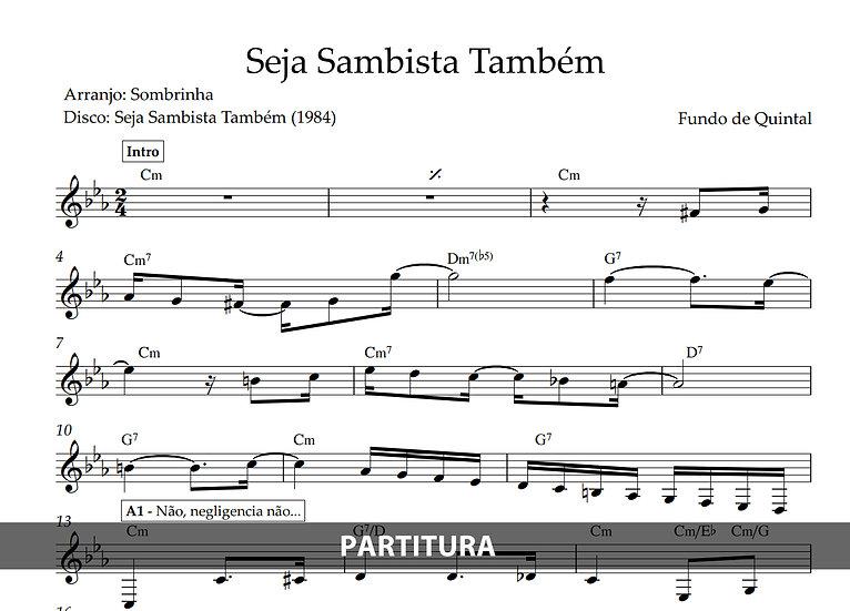 Seja Sambista Também - Fundo de Quintal (Transcrição)