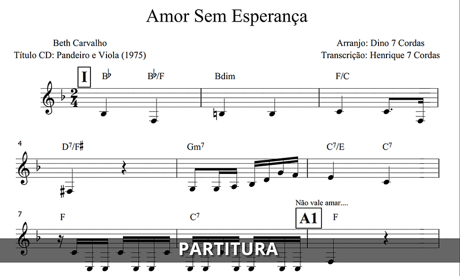 Amor Sem Esperança - Beth Carvalho (Transcrição)