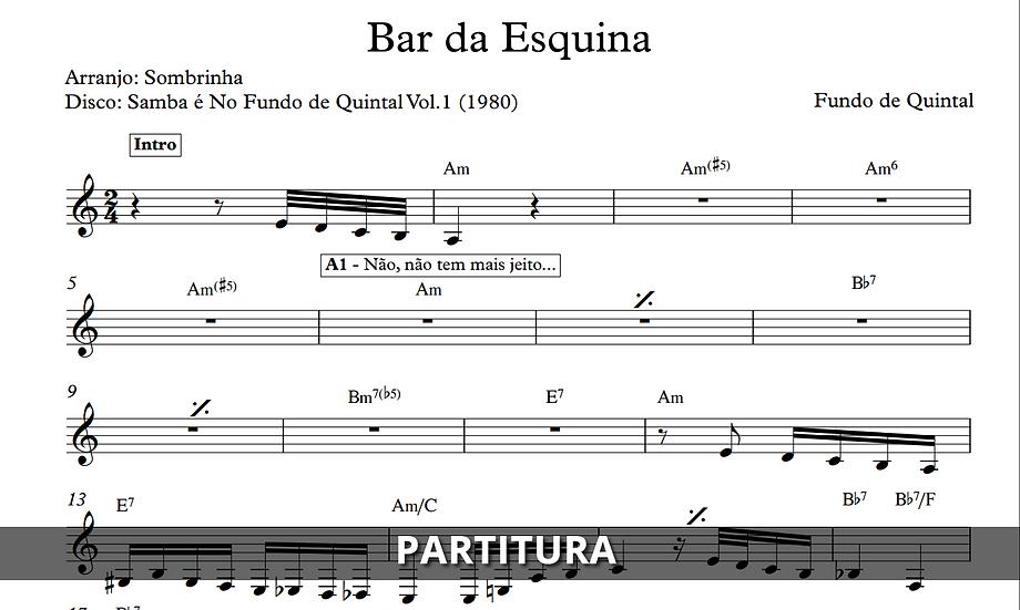 Bar da Esquina - Fundo de Quintal (Transcrição)