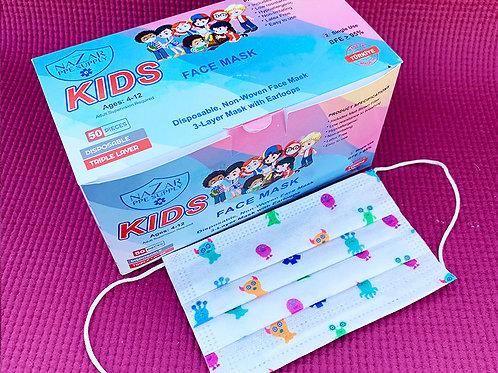 Disposable 3 Layer Kids Mask - (Individual Box 50 Masks)
