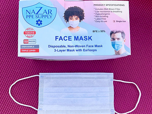 Disposable 3 Layer Face Mask - (Individual Box 50 Masks)