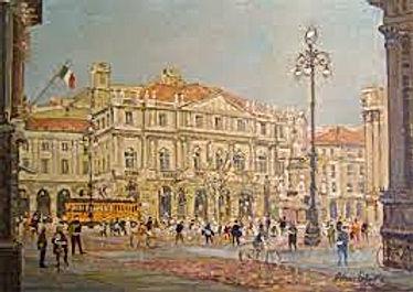 Tableau représentant l'extérieur de la Scala de Milan