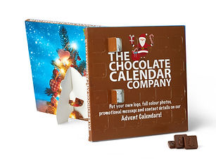 Desktop Chocolate Advent Calendar - fully brandable on all outer faces). Foil sealed to keep each chocolate fresh, this calendar comes compete with a fold out desk stand on the back.