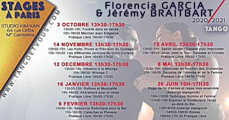 Programme des Stages de Tango à Paris tous les mois avec Florencia Garcia et Jeremy Braitbart