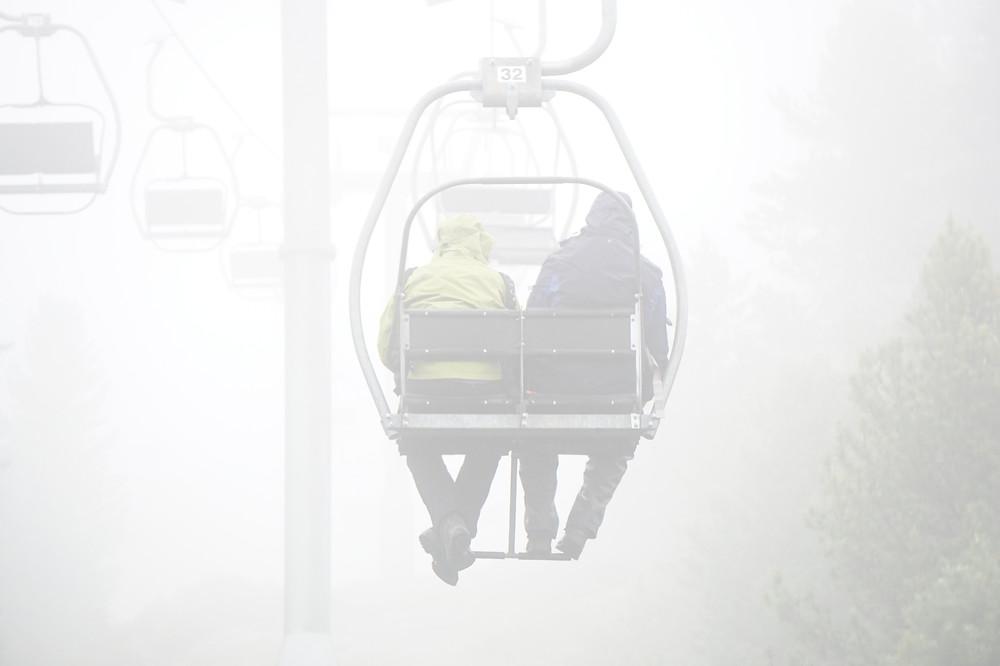 Misty ski lift up Val Languard, Switzerland
