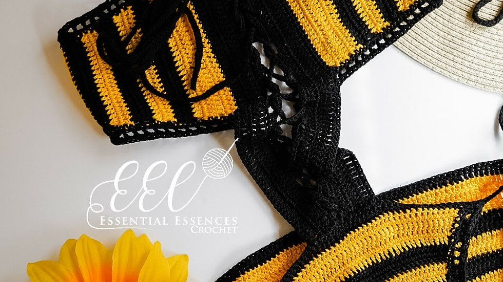 Black and Yellow Crochet 1pc Corset Front Opening
