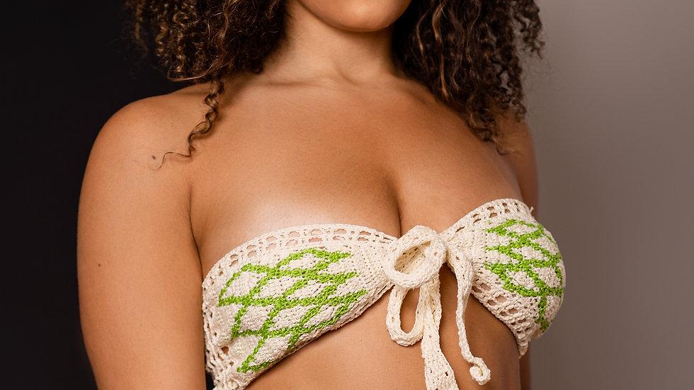 Crochet 2pc graphic design Cream & Lime bathing suit M-L