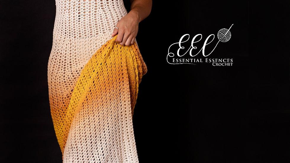 """Crochet """"Sunset"""" Long Maxi Halter Dress/Coverup"""