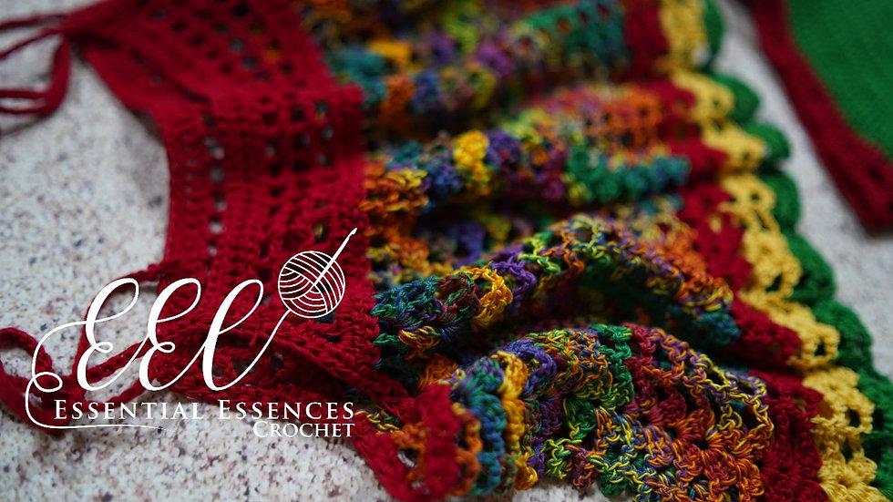Crochet 2pc Rasta Multicolor crop top and boyshorts