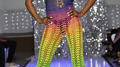 CROCHET Multi-Color Halter Jumpsuit