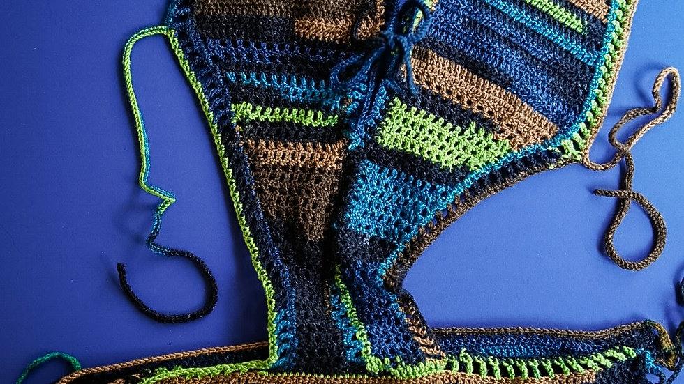 1pc Multi-Color Crochet Bathing Suit