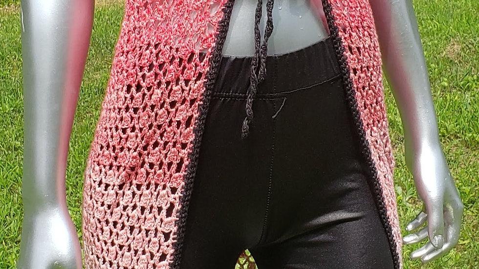 Red, White & Black Crochet Versatile Cover up