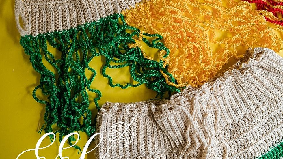 2pc Crochet Rasta Fringe Top w/ Matching Boyshorts M-L