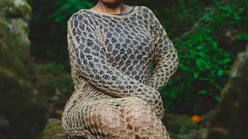 """CROCHET """"Goddess"""" Gold Gown (YouCanPickYourOwnColor)"""