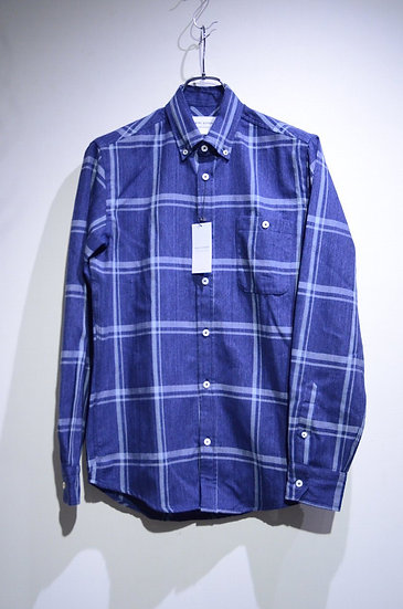 Tripl Stitched Checked B.D. Shirt Japanese NAVY Made in London トリプルステッチ チェックシャツ