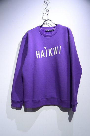 HAiK w/ Logo Cotton Poly Sweat Shirt Purple Made in Lithuania ハイク ロゴ スウェットシャツ