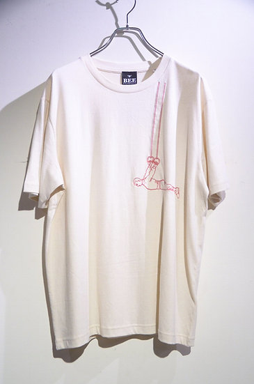 BEE Outerwear Hangman Embroiled T-shirt Natural Made in UK ビーアウタ-ウェア 刺繍 Tシャツ
