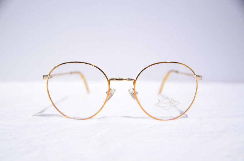 DEADSTOCK 80 - 90's Vintage Round Glasses Made in England Orange ヴィンテージ 眼鏡 イギリス製