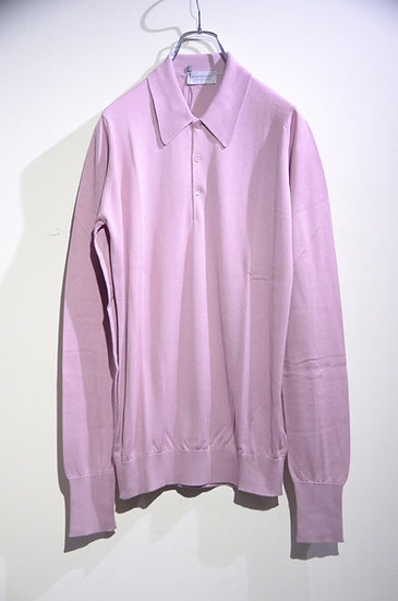 John Smedley BUXTON Long Sleeve Knit Polo Pink Made in UK ジョンスメドレー ロングニットポロ