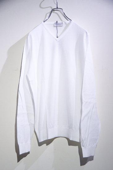 John Smedley Aydon Long Sleeve Vneck Cotton Knit WHT Made in UK ジョンスメドレー Vネックニット